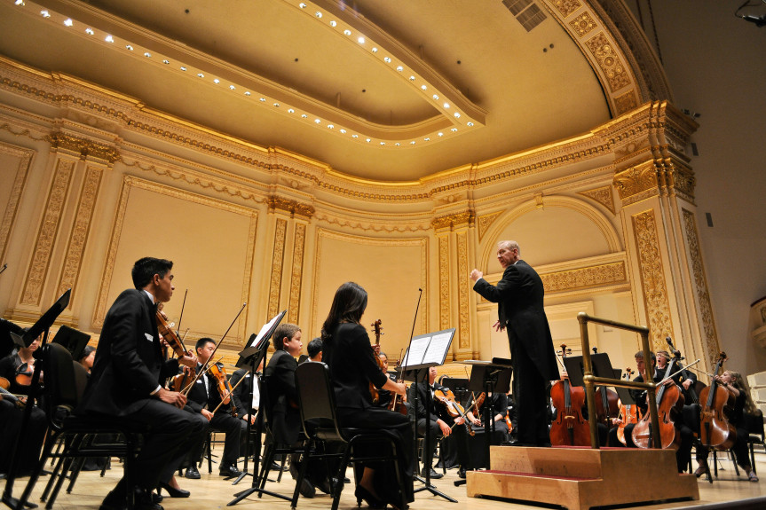 Young musicians from Placentia-based Southern California Youth Philharmonic recently performed at Carnegie Hall in New York City as part of the Viennese Masters Orchestra Invitational under the direction of music director Robert Frelly. (Photo courtesy of Justin T Shockley Photography).