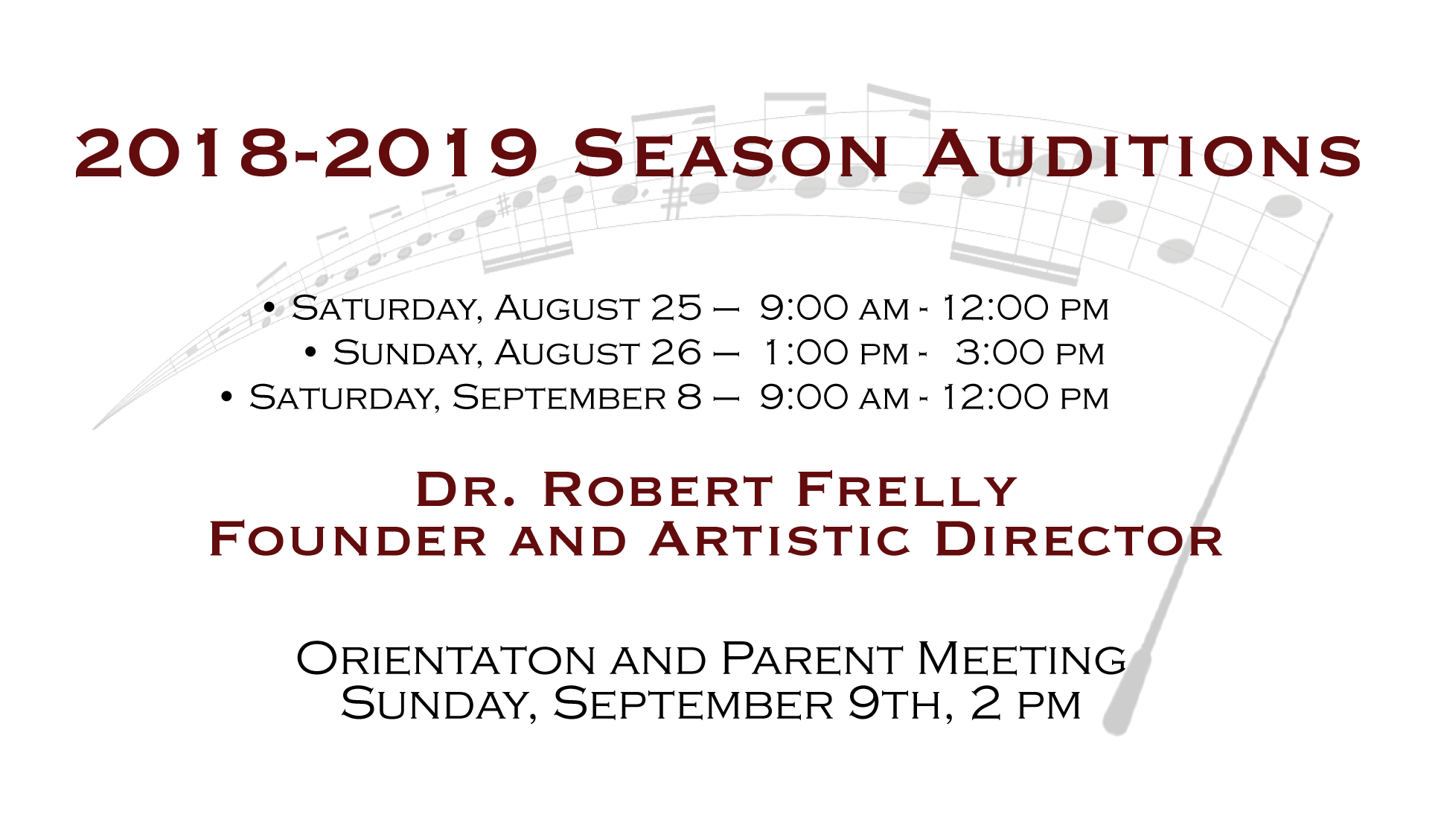 2018-2019 Auditions Fall only